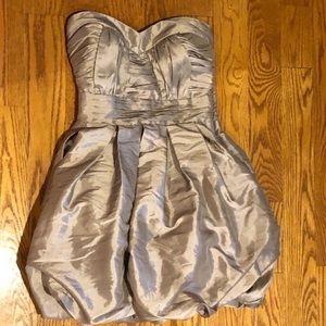 Taupe sweetheart neckline dress